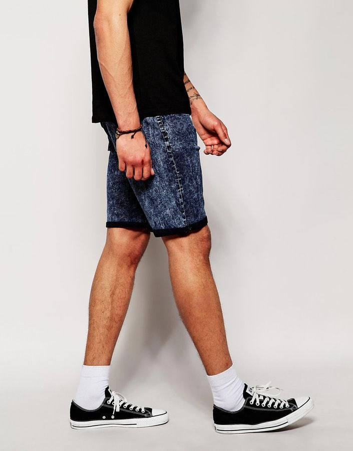 $32, Navy Denim Shorts: Another Influence Denim Short. Sold by Asos. Click for more info: https://lookastic.com/men/shop_items/211201/redirect