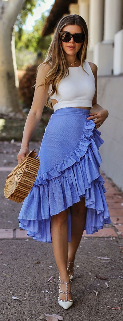 Take center stage and rule the spotlight in this saucy statement skirt boasting blue stripes, ruffles, and a tiered design. Applause of Ruffle Tiered Frill Hem Skirt  featured by The Charming Olive Blog