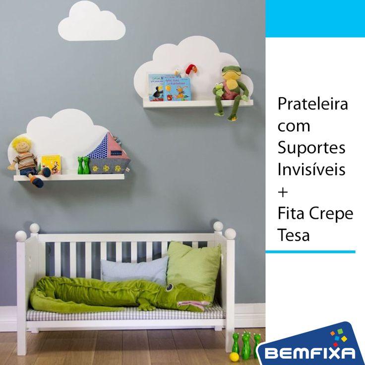 Usando a Fita Crepe para Trabalhos Curvos TESA, você consegue pintar as nuvens na parede! Depois basta fixar as Prateleiras com Suportes Invisíveis. Lindo não? Compre tudo aqui: http://www.lojabemfixa.com.br/