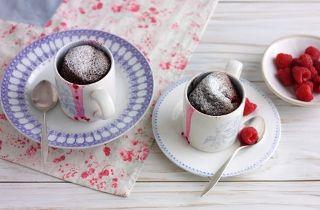 Chocolate Malt Raspberry Mug cake.