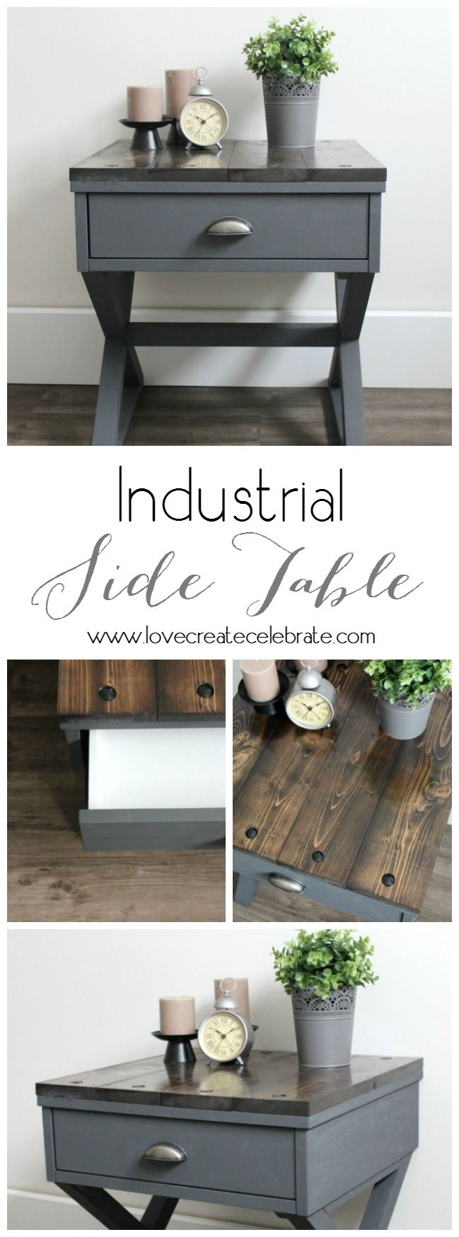 Love this tutorial for making any end table look industrial! Such a great DIY!