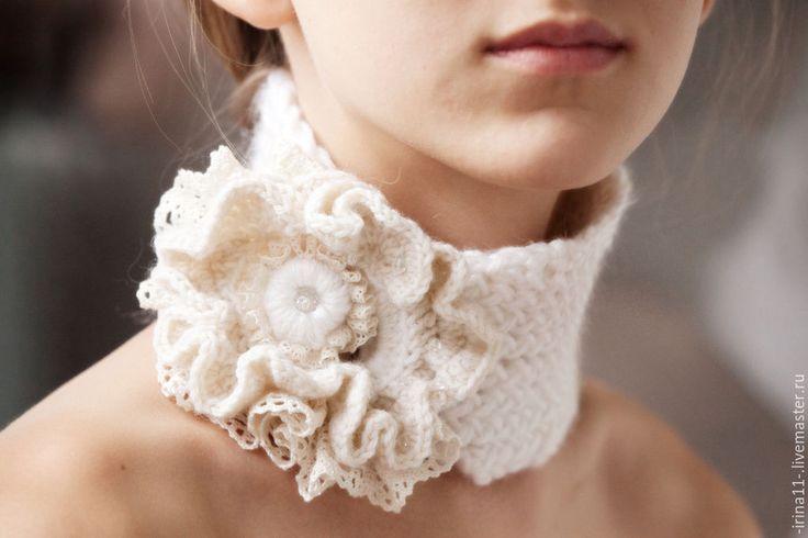 Купить Шарфик вязаный Французский Шик - белый, кремовый, шарф, шарфик, шарф женский, подарок