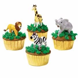 Animal figure cupcakes.  Change zoo to barnyard - perfect for a kid party!