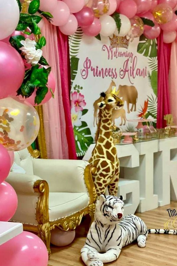Princess Safari Baby Shower Party Ideas Photo 20 Of 22 In 2020 Baby Girl Shower Themes Girl Baby Shower Decorations Baby Shower Themes
