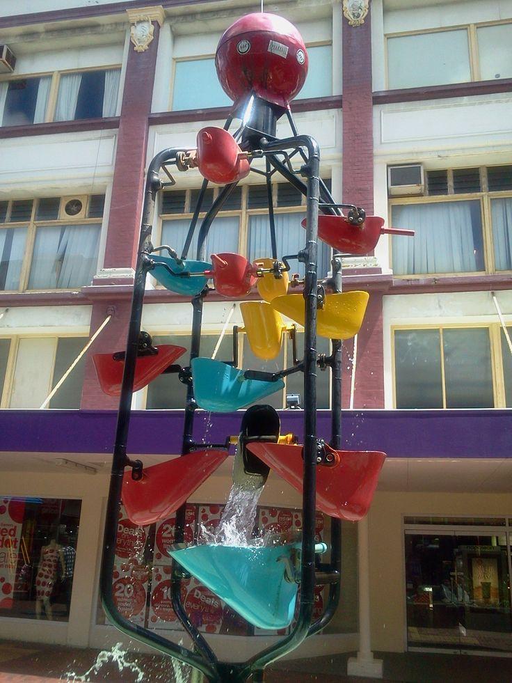 """Bucket fountain"" Cuba Street, Wellington."