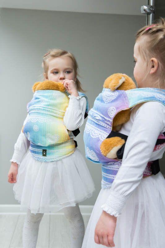 DOLL CARRIER MADE OF WOVEN FABRIC (100% COTTON) - RAINBOW LACE