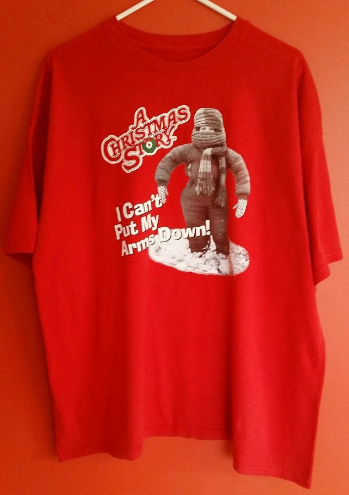 """A Christmas Story """"I Can't Put My Arms Down"""" Men's Cotton T-Shirt Size 2XL #Unbranded #BasicTee"""
