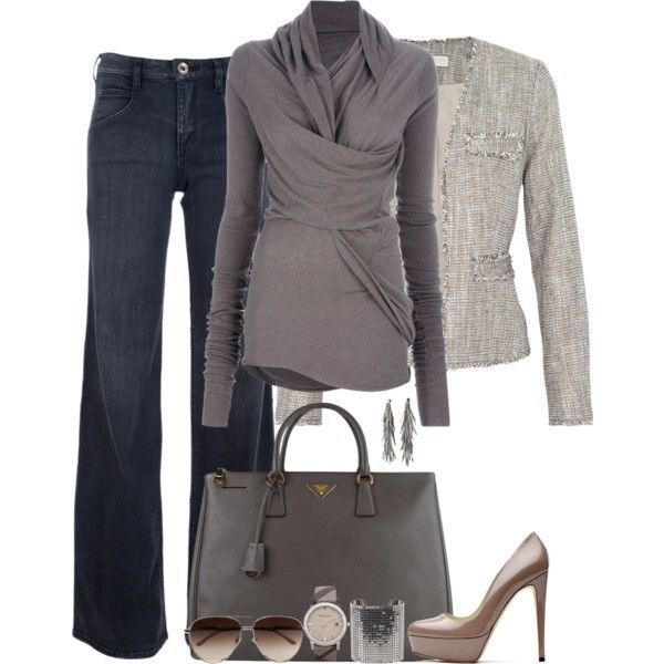 Outfit: Untitl 115, Gray Outfits, Wraps Sweaters, Casual Friday, Jeans Outfits, Corporate Outfits, Shirts, Grey Outfits, Casual Jeans