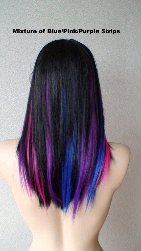 100 Human Hair Bright Purple Strip Clip In Extensions Streaks