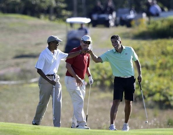 Important information on who Obama was golfing with five minutes after ISIS statement  by Joshua Riddle on August 23, 2014
