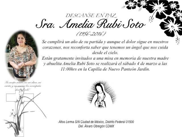 1er  aniversario luctuoso de nuestra amada amelia rubi