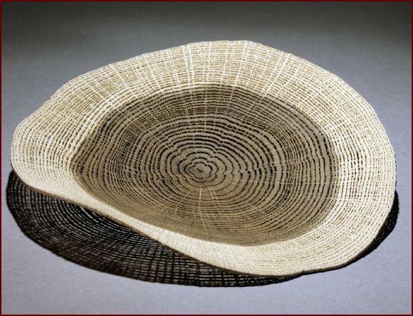 "Wood, Pascal Oudet, Artist, Untitled brown disc, 2012, oak, 6""h x 6""w x 1.5""d"