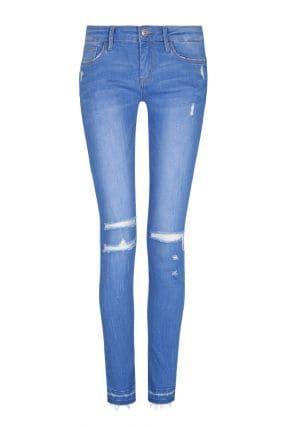 Jeans Skinny Vita Bassa Destroyed