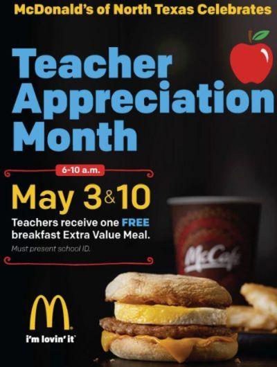 McDonald's North Texas Free Breakfast on May 3 and May 10