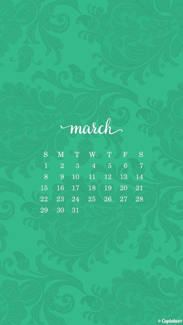 Calendar Wallpaper For Iphone : Jade green damask march calendar iphone phone wallpaper