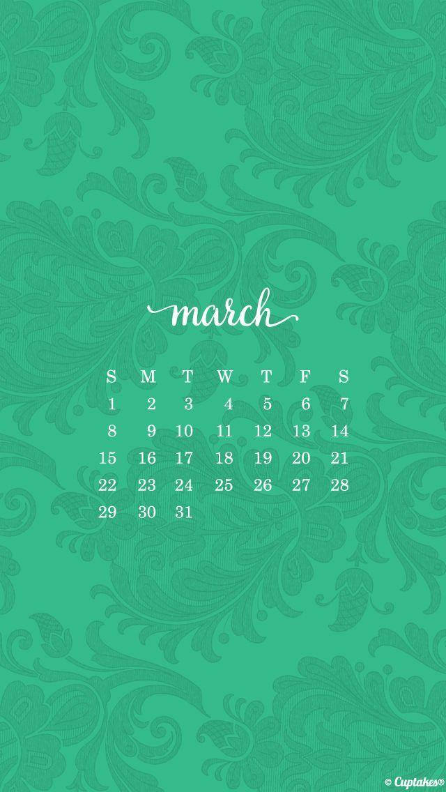 Jade green damask march calendar iphone phone wallpaper background lockscreen | Wallpapers ...