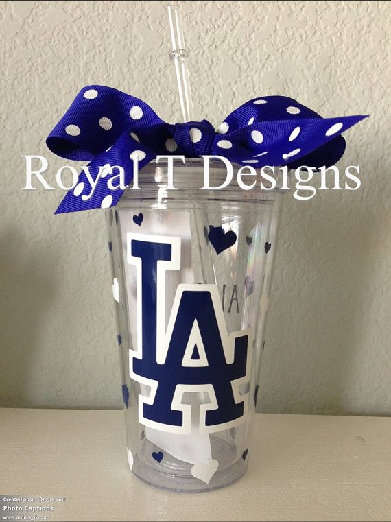 Personalized LA Dodgers Tumbler with matching hearts and ribbon.  on Etsy, $14.00