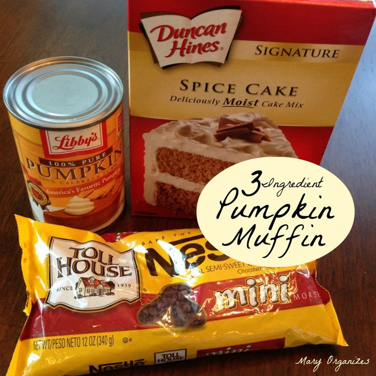 Three Ingredients is all you need: 1 Spice Cake Mix 1 Can Pumpkin 1 Bag Chocolate Chips Combine all ingredients. Spoon into greased muffin pan(or use paper liners) Bake at 350 for 15 minutes.