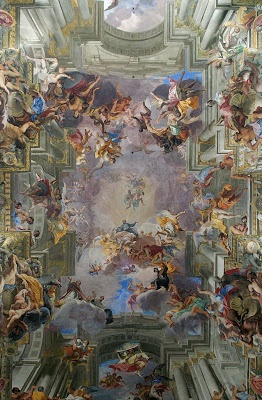 Glorificação de Santo Inácio.  Andrea Pozzo  Afresco, Igreja de Santo Inácio.  1691 - 1694