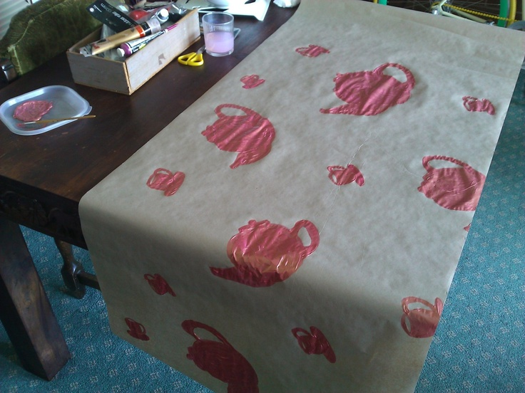 Handmade teapot wrapping paper