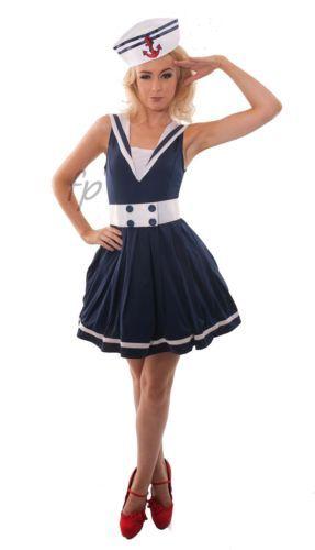 LADIES SEXY SAILOR FANCY DRESS COSTUME OUTFIT NAVY UNIFORM HALLOWEEN SIZE 8-18 | eBay