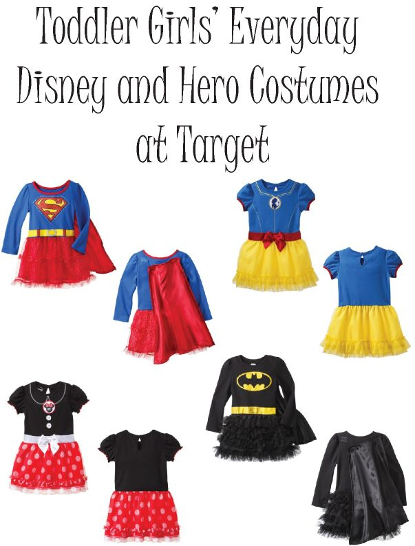 Halloween Costumes Toddler Girls Disney and Hero.  Supergirl, Batgirl, Snow White, and Minnie Mouse