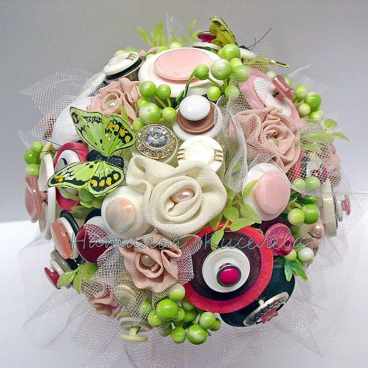 Купить Букет из пуговиц Леденцовый - букет из пуговиц, свадебный букет, букет невесты из пуговиц