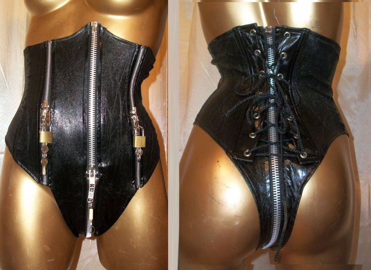 "LIP SERVICE Patent Vinyl And Vegi Leather Classics (?) ""Chastity"" corset thong"