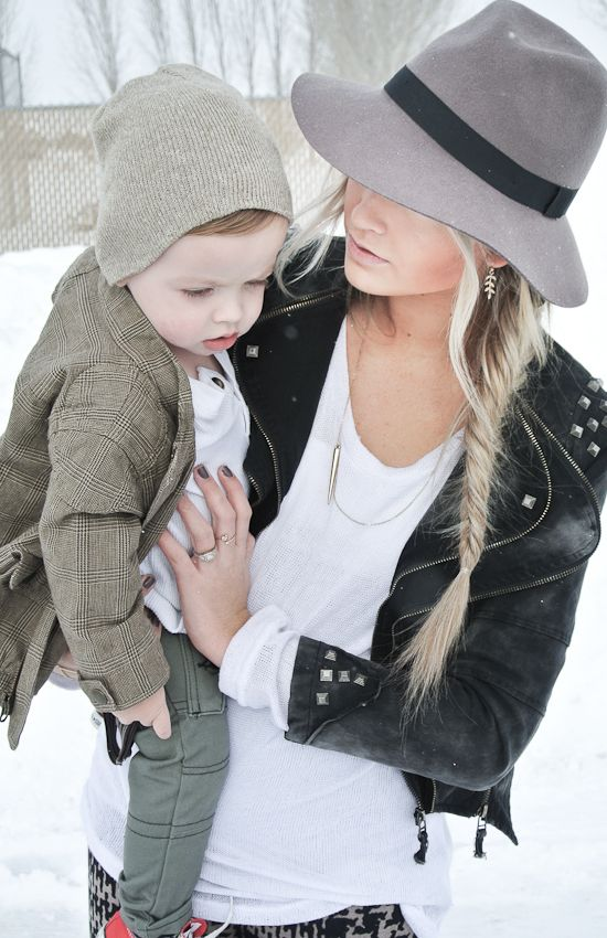 she is by far one of the most cutest moms i've ever seen! love her style! & LOVE that she dresses her son just as cute!