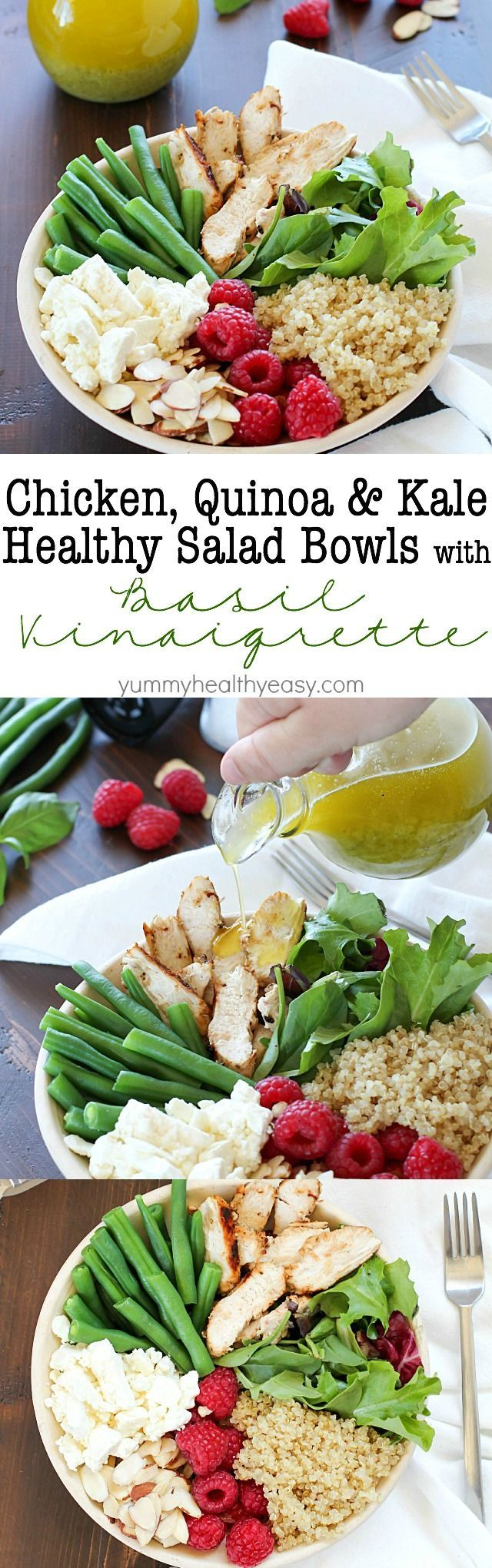 yummy salad bowl recipe full of grilled chicken, cooked quinoa, kale ...