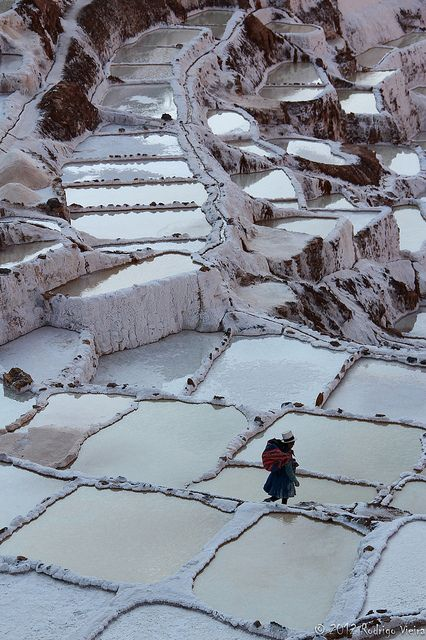 Salt evaporation ponds in Maras, a town in the Sacred Valley of the Incas, Cusco, Peru