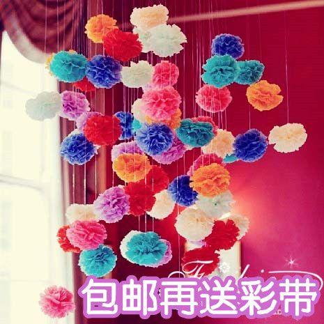 Год Рождественские украшения свадебные украшения бумажный шарик гирлянды бумаги пион цветы мяч свадебные бумажные фонарики Букет - Taobao