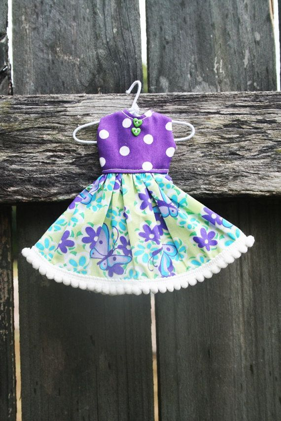 Purple Butterflies Full Skirted Dress with Pompom by tasha2shoes, $12.00
