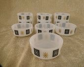 Vintage Federal Milk Glass Small Bowl With Black and Gold Atomic Snowflake, dessert bowls, soup bowls, breakfast bowls