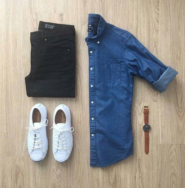 Clean and Simple Grid by @mrjunho3  Follow  @stylishgridgame   www.StylishGridGame.com  Brands ⤵ Shirt + Jeans: @uniqlo Shoes: @converse Watch: @danielwellington