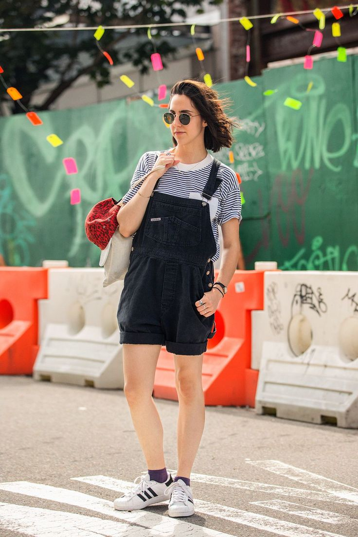 Classic adidas Superstars on Sara Rados. #refinery29 http://www.refinery29.com/athletic-shoes#slide-12