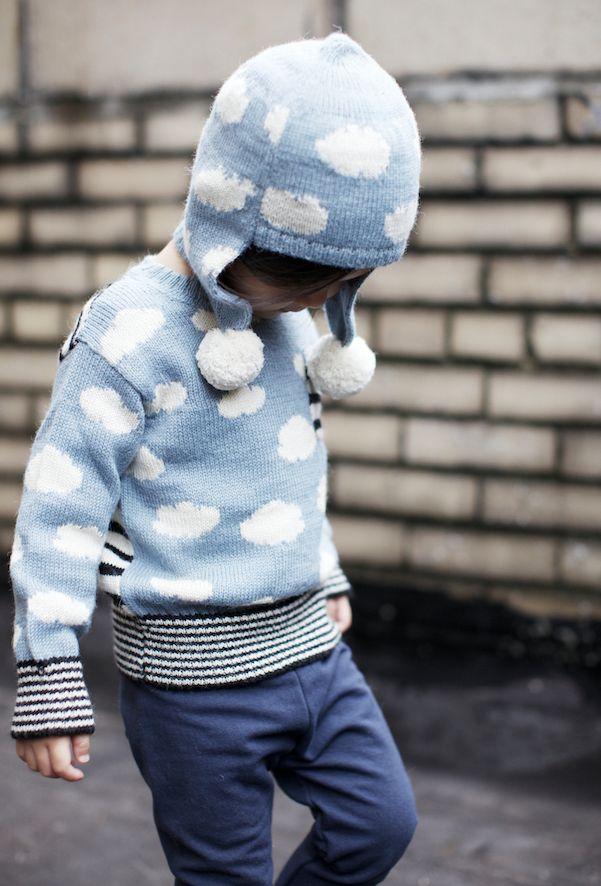 Knitting for kids - knit children hats - knit children sweater - Cloud Hat & matching sweater: