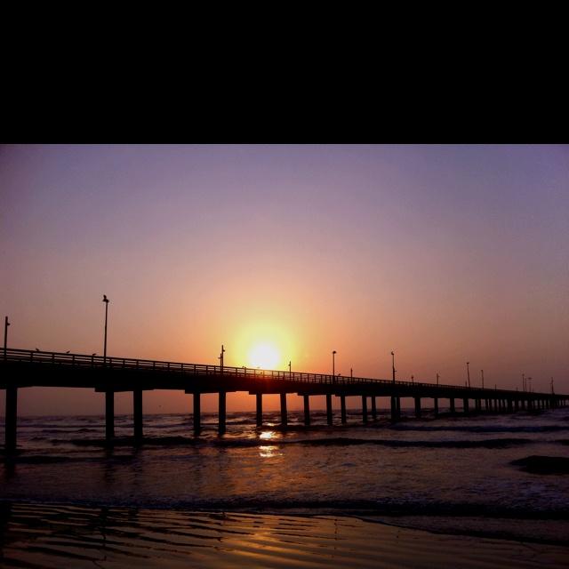 Mustang Island Beach: Sunrise Over Port Aransas Texas