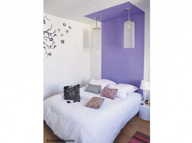 Pour marquer une tête de lit ! l'idée et de peindre le mur de la largeur du lit et de continuer sur une partie du plafond !
