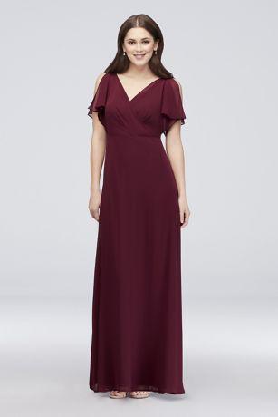 48d6695eca8f Split-Sleeve Chiffon Surplice Bridesmaid Dress W60012 | Formals in ...