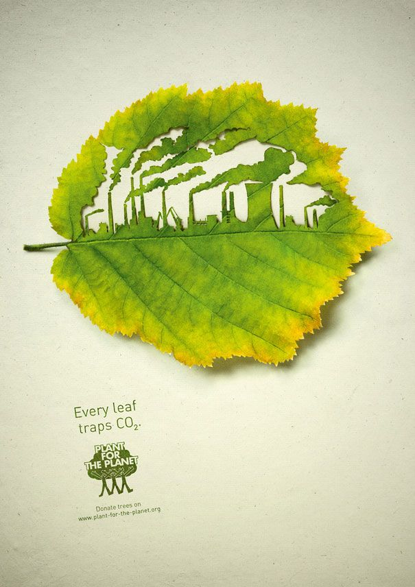 beautiful cut-away leaf art by Lorenzo Duran before, and now I came a cross a very similar ad campaign by Legas Delaney for Plant for the Planet. The aim of the campaign was to show leaf's ability to absorb CO2. At first I thought the idea of leaf cutting was borrowed from Duran, however after looking at the credits I realized that the artist was actually working on this campaign.