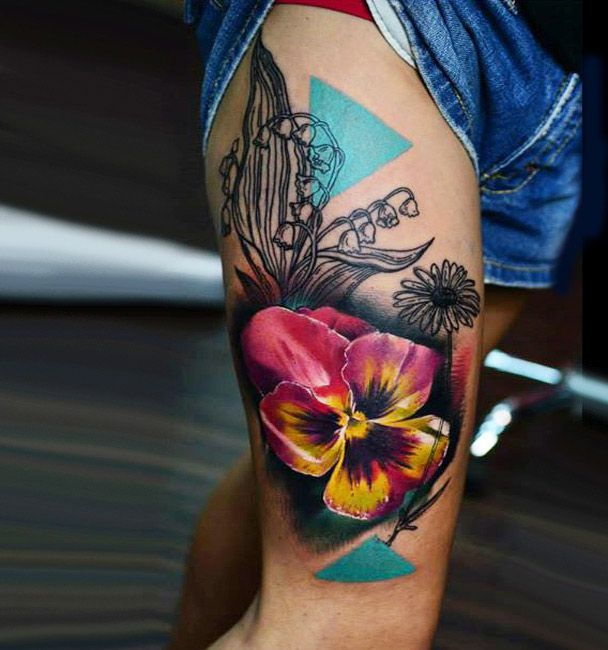 Abstract Flowers Tattoo by Timur Lysenko   Tattoo No. 12716