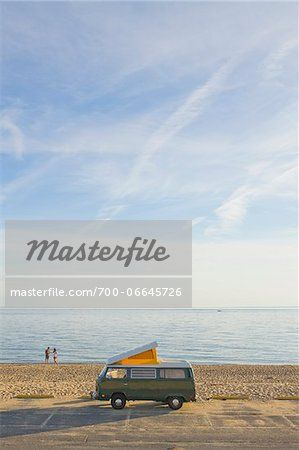 Stock photo of Retro Camper Van Parked at Beach, Cape Cod National Seashore, Provincetown, Massachusetts, USA; Premium Rights-Managed, 700-0664572 © Raymond Forbes / Masterfile. All rights reserved.