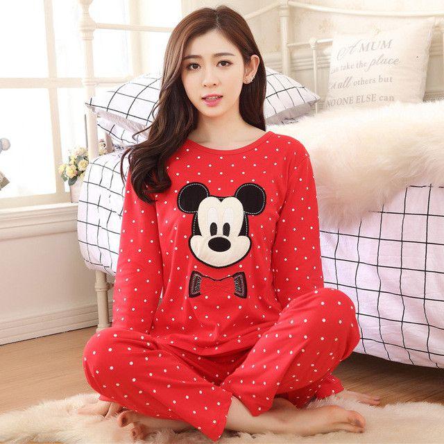 Free Shipping Women Pyjamas Cotton Clothing Long Tops Set Female Pyjamas Sets Night Suit Sleepwear Women Home Clothes Ladies Set