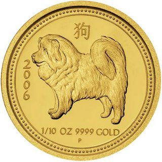 Australian Lunar Gold Coin - Year of the Dog Proof Issue     The Perth Mint in Australia, has been striking an excellent theme series of purse gold coins called the Australian Lunar Gold Coin Series. This solid gold coin celebrates the Chinese year 2006,Year of the Dog Proof Issue.