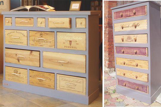 Originales ces commodes faites de caisses à vin. #rangement #recup #DIY