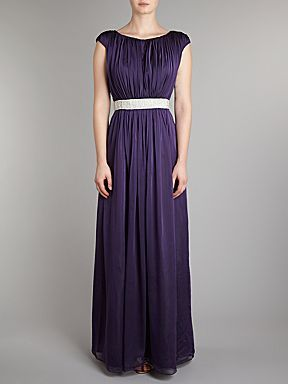 JS Collections Beaded waist chiffon dress: Wedding Bridesmaid Dresses, Waist Chiffon, Dresses Houses, Navy Maxi, Bridesmaids Dresses, Dresses Dark, Dark Purple, Purple Houses, Chiffon Dresses