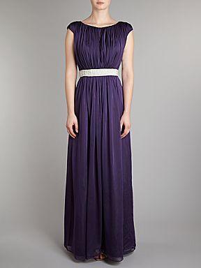 JS Collections Beaded waist chiffon dress