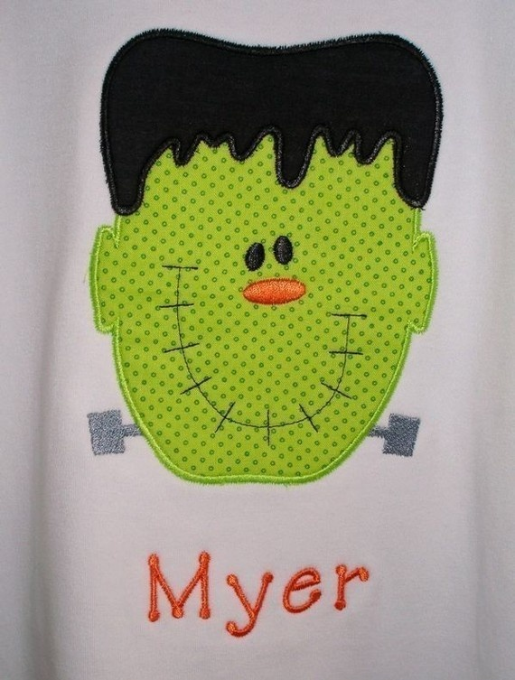 Frankenstein Applique TShirt with Monogram  by lillifeeboutique, $20.00