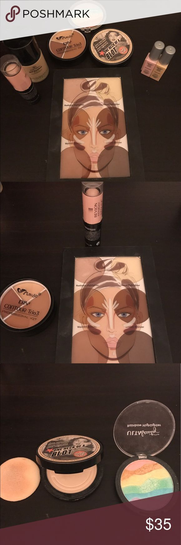 Foundation/Contour bundle This bundle included foundation, contouring kits, highlighter, illuminators, correctors, etc. picture shown. Some slightly used, others open but unused not even try on. Will include more free make up and bag. Good condition and unused condition. Makeup Foundation